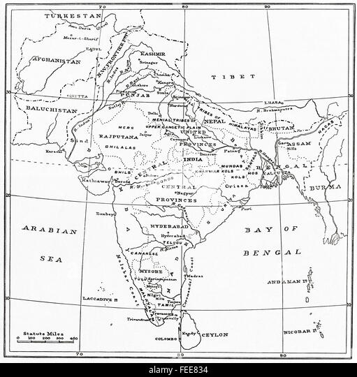 A map of India at the beginning of the 20th century. - Stock Image