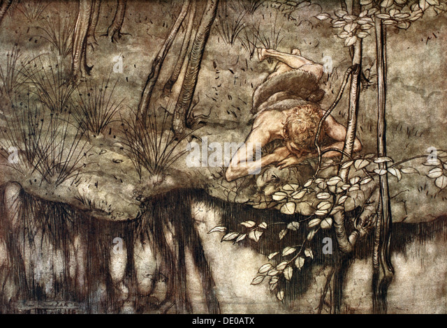 'Siegfried sees himself in the stream', 1924.  Artist: Arthur Rackham - Stock Image