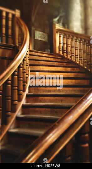 beautiful old wooden staircase in old house - Stock-Bilder