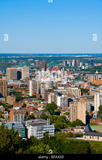 View of Montreal with Jacques Cartier Bridge in the background - Stock Image
