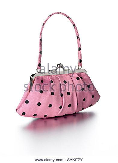 Handbag pink polka dot - Stock Image