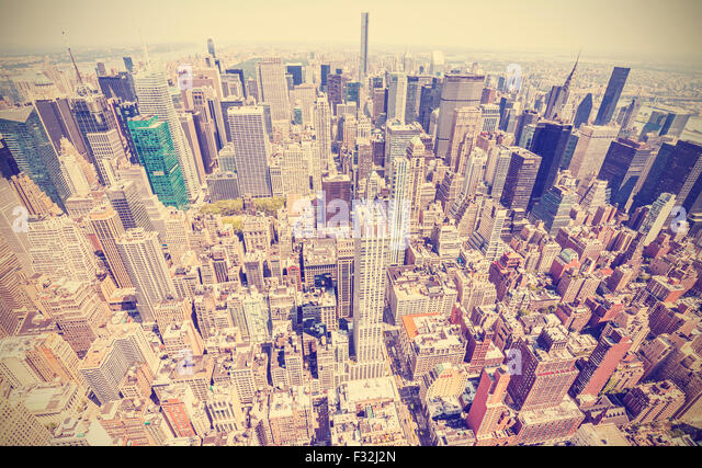 Retro stylized aerial view of Manhattan, New York City, USA. - Stock Image