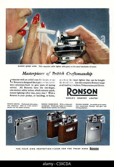 Advertisement for Ronson, from The Festival of Britain guide, published by HMSO. London, UK, 1951 - Stock-Bilder