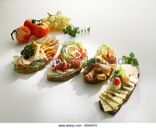 Assorted open sandwiches (Smörgas, Sweden) - Stock Image