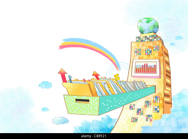 Illustration of drawer with files and document - Stock-Bilder
