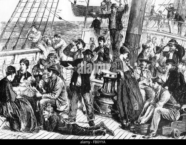 CANADIAN IMMIGRATION - engraving from about 1872 - Stock-Bilder