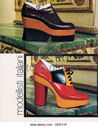 Modellisti Italiani, platform shoes, 1970s. - Stock Image
