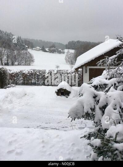 Bavarian Forest near Deggendorf, Germany. 21st December, 2017. Winterwonderland, snow at Christmas Bavarian Forest - Stock Image