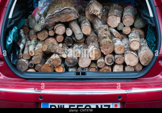 Car trunk with pile of firewood - Stock Image