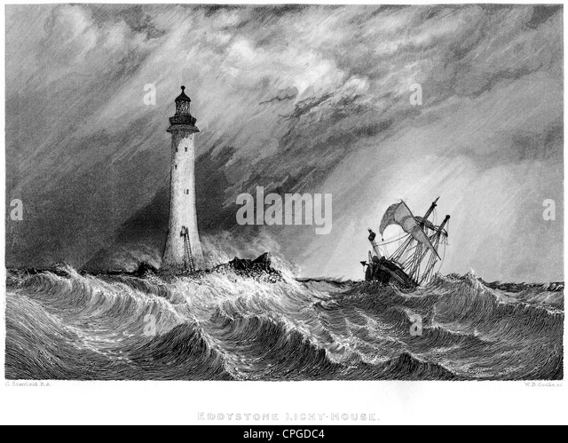 An engraving entitled ' Eddystone Light-House ' scanned at high resolution from a book published in 1847. - Stock Image