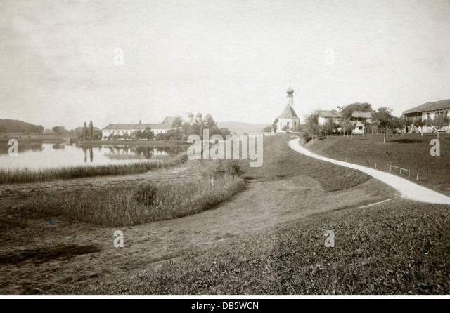 geography / travel, Germany, Bavaria, Seeon, monasteries, view of Seeon Abbey, circa 1900, monastery, church, churches, - Stock Image