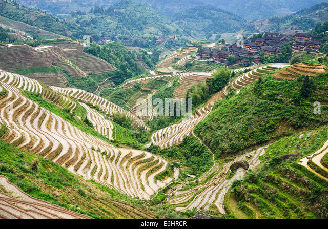 Village on Yaoshan Mountain in Guangxi, China. - Stock Image