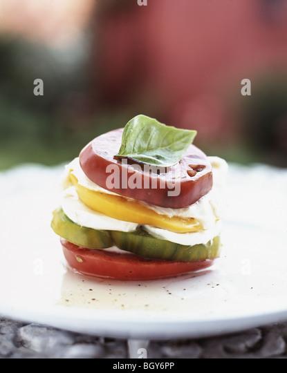 Tomato Neapolitan with organic tomatoes and mozzarella. - Stock Image
