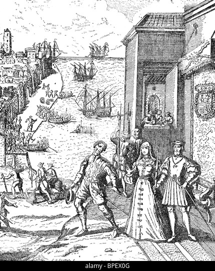 Christopher Columbus takes leave of King Ferdinand and Queen Isabella of Spain on August 3, 1492. - Stock Image