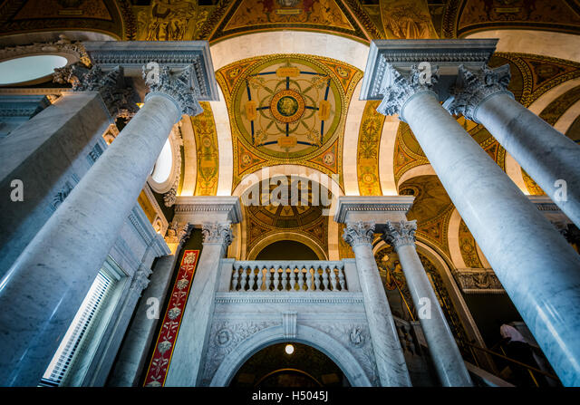 The interior of the Thomas Jefferson Building of the Library of Congress, in Washington, DC. - Stock-Bilder