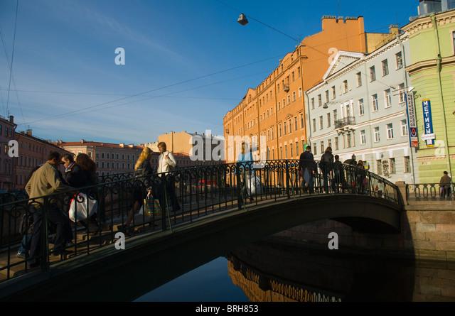 Sennoy most bridge at Sadovaya square central St Petersburg Russia Europe - Stock Image