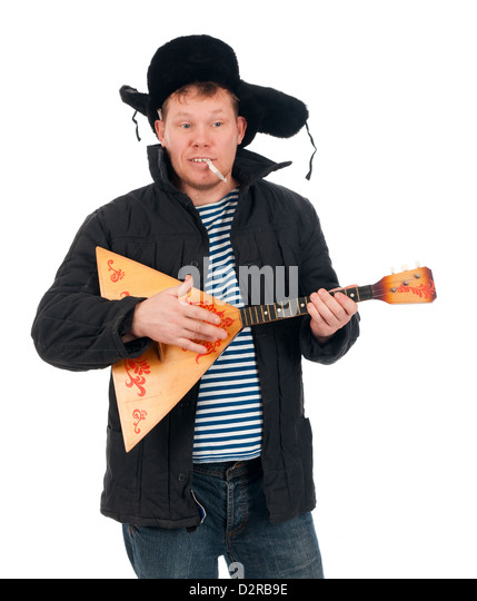 Russian man with balalaika,red-neck.isolated on white background  - Stock Image