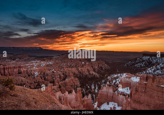 Blue and Orange Skies Over Bryce Canyon - Stock Image