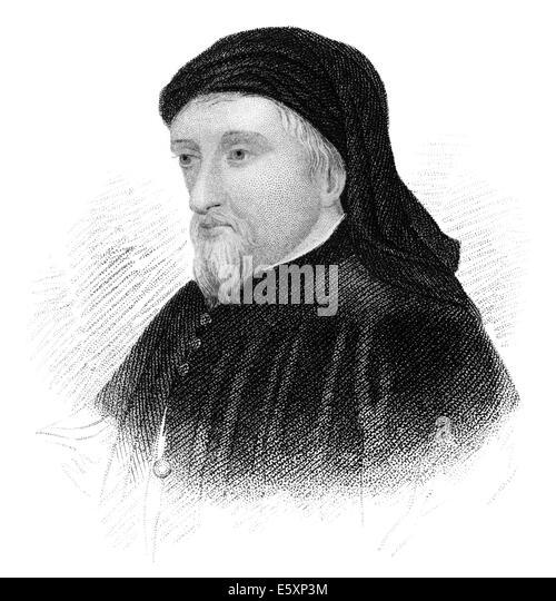 Portrait of Geoffrey Chaucer, ca. 1343 - 1400, - Stock Image