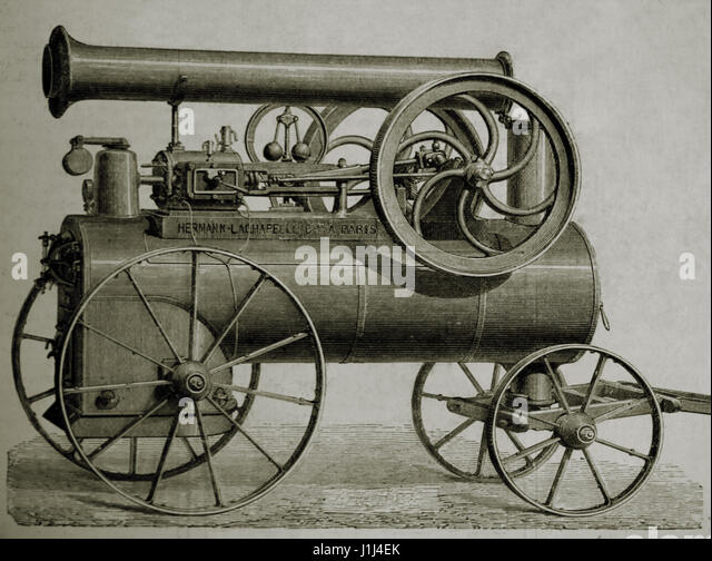 Horizontal steam engine on wheels, built by Hermann-Lachapelle. Engraving, 1875. The Spanish and American Illustration. - Stock Image