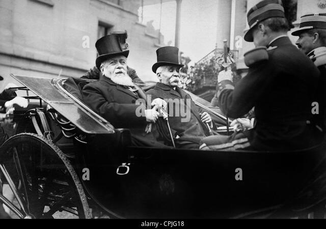 Armand Fallieres and Georges Clemenceau in Longchamps, 1909 - Stock Image