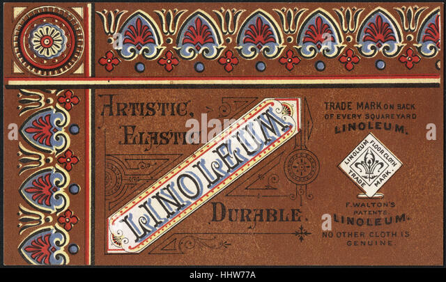 Artistic, elastic, durable, linoleum (front)  - Home Furnishings Trade Cards - Stock-Bilder