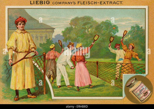 A match of lawn tennis.  Liebig card, Sports, 1896. - Stock Image