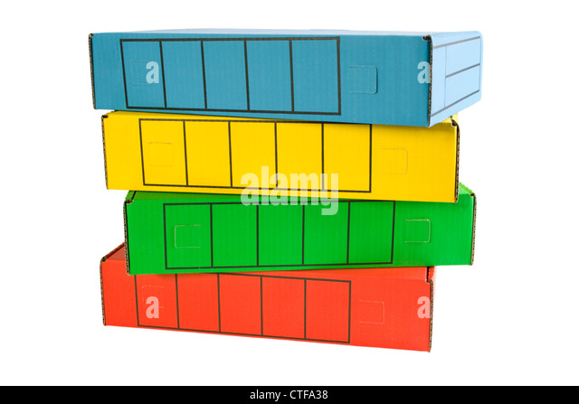 A pile of archive boxes in bright colours. Clipping path - Stock Image