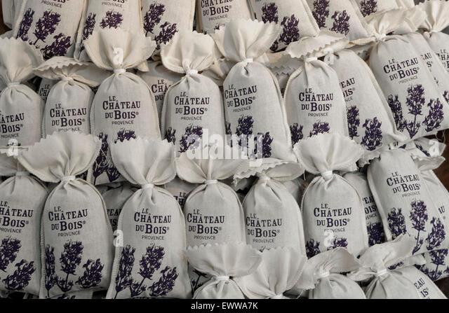 Musee de la Lavande , Lavender Museum, Lavender bags, Coustellet, Provence , France, Avignon, Bouche du Rhone, France - Stock Image