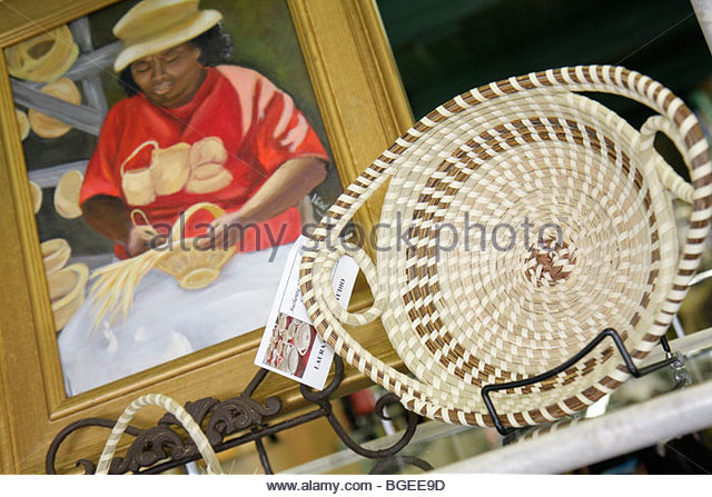 South Carolina Beaufort Low Country Southern National Historic Landmark District Bay Street art gallery Gullah Geechee - Stock Image