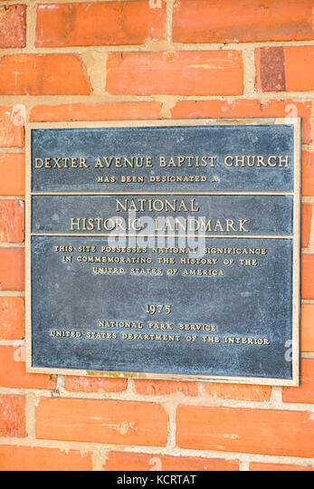 Marker denoting the designation of National Historic Landmark at the Dexter Avenue Baptist Church, Montgomery Alabama, - Stock Image
