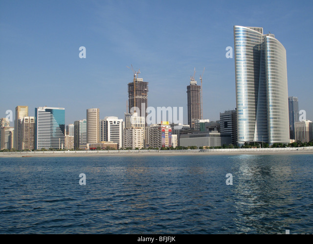 Modern tall buildings on the Corniche seafront, Abu Dhabi, UAE - Stock Image