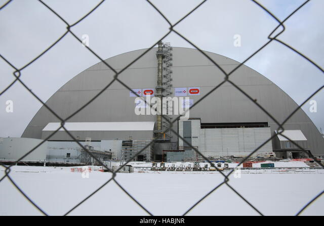 Chernobyl. 29th Nov, 2016. Photo taken on Nov. 29, 2016 shows the new protective cover over the destroyed Chernobyl - Stock Image