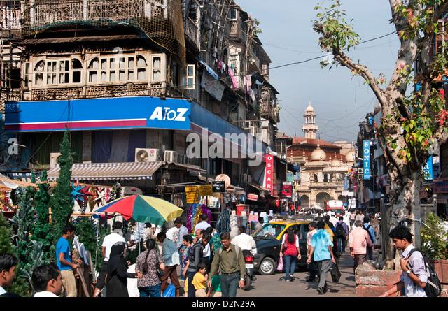 Sheikh Memon Street ( Zavari Bazaar ) Mumbai ( Bombay ) India near Crawford Market background Mosque Jama Masjid - Stock Image