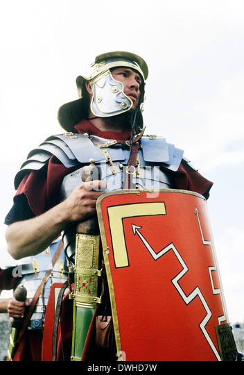 Roman Legionary Soldier, 1st century, historical re-enactment soldiers England UK - Stock Image