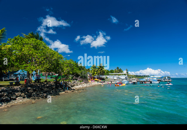 Coast around Merizo and its coral reef, Guam, US Territory, Central Pacific, Pacific - Stock Image