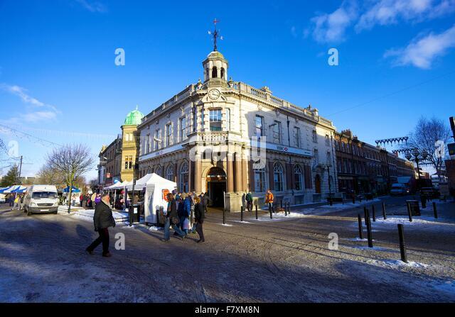 HSBC Bank at the corner of English Street and Bank Street. Carlisle, Cumbria, England, United Kingdom. - Stock Image