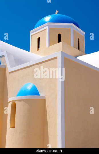 oia ( Ia ) Santorini orthodox churches - Greek Cyclades islands - Photos, pictures and images - Stock Image
