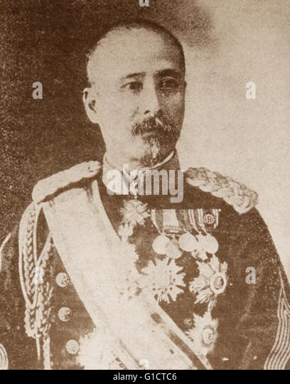 Photographic portrait of Viscount Kodama Gentar? (1852-1906) a General in the Imperial Japanese Army. Dated 19th - Stock Image