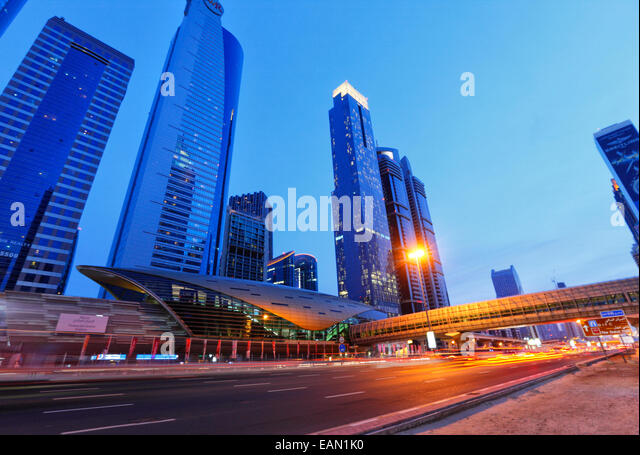 Modern architecture of metro train station on Sheikh Zayed Road in Dubai. - Stock Image