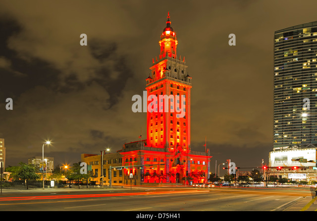 Freedom Tower and light streaks, Miami, Florida USA - Stock Image