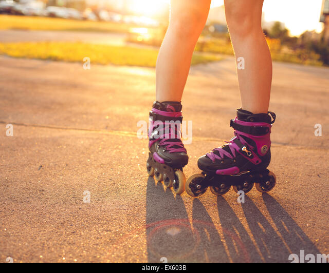 Close up on roller skate shoes - Stock-Bilder