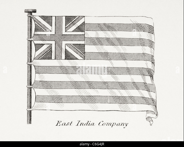 The East India Company flag. Early 19th century. - Stock-Bilder