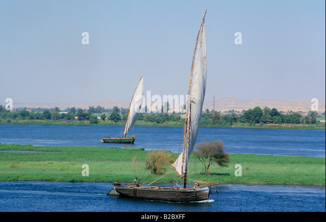 Felucca on the Nile near Aswan, Egypt - Stock Image