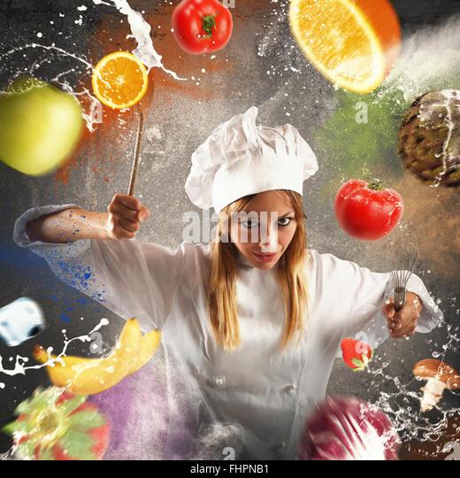 Angry and demanding chef - Stock Image