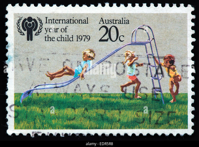 Used and postmarked Australia / Austrailian Stamp 20c International Year of the child 1979 - Stock Image
