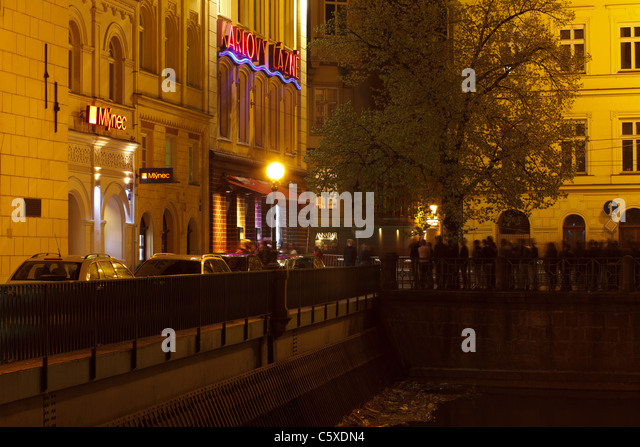 Prague at night, Karlovy Lazne - most fancy nightclub in Europe - Stock-Bilder