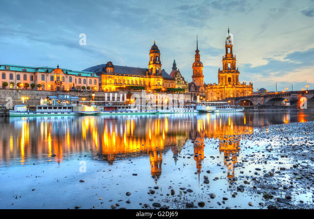 View of the old town of Dresden over river Elbe, Germany. HDR image. - Stock Image