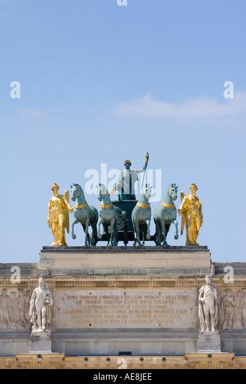 Sculpture on top of Arc de Triomphe du Carrousel Paris France - Stock Image