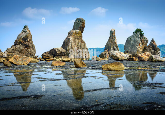 Kushimoto, Wakayama Prefecture, Japan. coastline at Hashi-gui-iwa rocks. - Stock Image